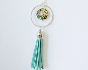 Long sterling silver necklace with sterling silver circle, abalone round bead and sea bgreen suede  tassel, tassel necklace