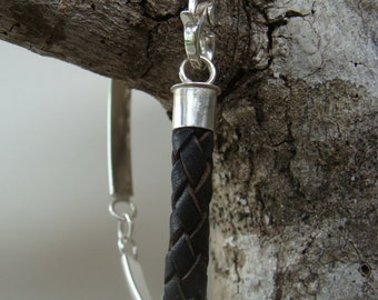 Silver Linked Leather Bracelet