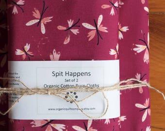 Pink, Purple Butterfly Baby Blanket, Burp Cloth Set; Modern Woodland Baby Blanket Gift; Handmade Organic Cotton Baby Shower Present; Flutter