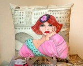 Reserved for Browneyedgirl, GENEVIEVE PARIS PILLOW, hand painted pillow, Paris woman, Paris, soft pink, soft grey, aqua,  gift for her,