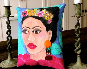 FRIDA KAHLO PILLOW,  hand painted pillow, gift for her, aqua sofa pillow, decorative Mexican pillow, Frida Kahlo,  colorful ethnic pillow