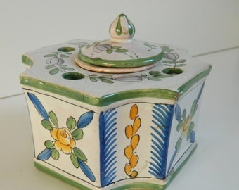 Antique Complete Faience inkwell  - R.C. France - Octagonal inkwell  polychrome decoration of small flowers