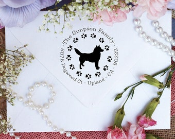 Husky Dog Stamp, Husky Lover Self Inking Custom Return Address Stamp, Cute Stamp for Husky Lover, Dog Stamp --10354-PI53-000