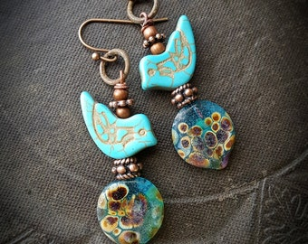 Lampwork Headpins, Lampwork Glass, Love Birds, Rustic, Earthy, Organic, Copper, Beaded Earring