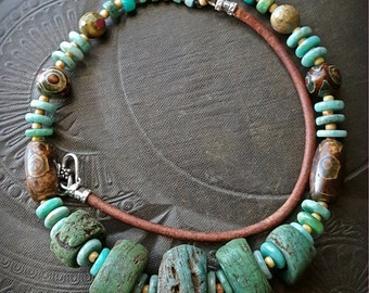Antique African Hebron Beads, Amazonite, Etched Agate, Tribal, Primitive, Organic, Leather, Beaded, Bib, Choker, Necklace