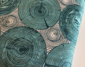 Wood Slice Decor, Rustic Wedding Fabric, Woodland Nursery, Modernist fabric by Joel Dewberry, Tree Ring Bling in Peacock- Choose the cut