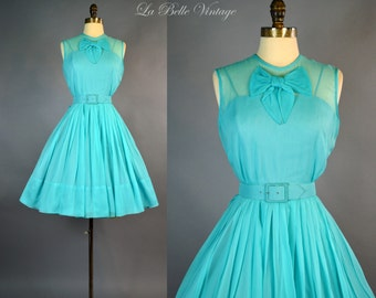Aqua Blue Chiffon Dress S ~ Vintage 1950s Party Dress ~ Full Skirt