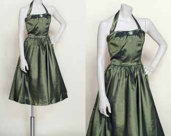 1940s Holiday Dress --- Vintage Green party Dress