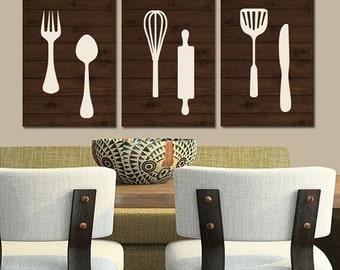 KITCHEN Wall Art, Canvas or Print, Wood Utensils Artwork, Fork Spoon Knife Tools Pictures, Rustic Decor, Country Dinning Room, Set of 3