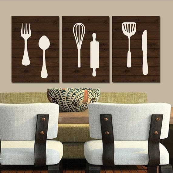 Kitchen wall art canvas or print wood utensils decor fork - Kitchen canvas wall decor ...