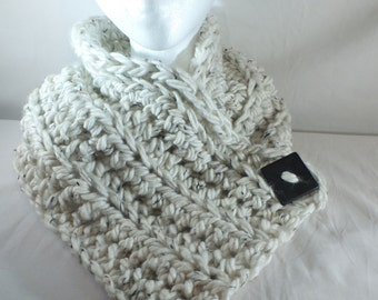 Chunky Crochet Neck Warmer with Button Crochet Cowl with Button