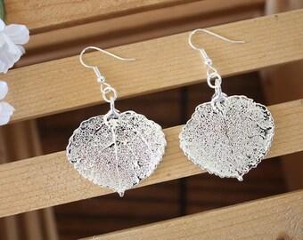 Silver Aspen Leaf Earrings, Real Leaf Earrings, Aspen Leaf, Sterling Silver Earrings, LESM182