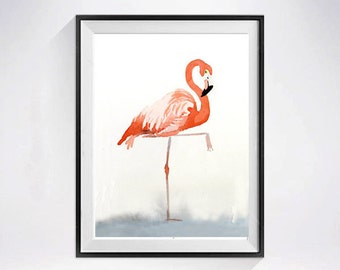 Shore Bird Flamingo Prints Watercolor painting Coral large bird prints Pink flamingo watercolor Nursery room wall art Kid's room 45