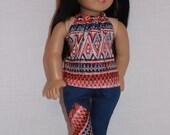 18 inch doll clothes, boho print halter top, boho patch deep blue skinny jeans, upbeat petites