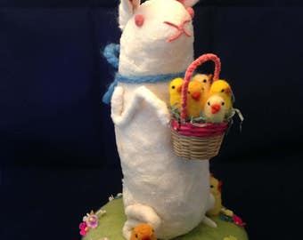 Spun cotton batting vintage inspired sitting rabbit with needle felted chicks in basket by Maria Paula