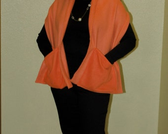 Polar Fleece Orange Shawl/Scarf with Pockets -One Size - Adult - Child - Fall-Winter- Gift