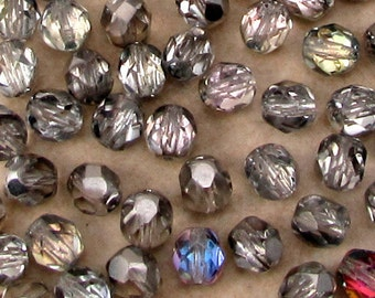 Czech Glass Beads, Firepolished Round, 6 mm, Vitrail Light, 50 Pc. C516