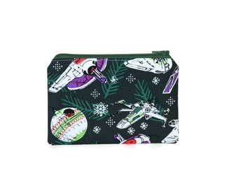 Star Wars Christmas Zipper Pouch / Gift Card Pouch in Star Wars Ships / Millennium Falcon / X Wing / Death Star
