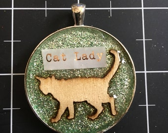 Cat Lady Pendant, 50% of the proceeds go to the current focus animal charity