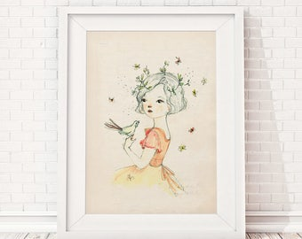 Girls room decor, Art for girls room, girls room art, art for kids room, girls wall decor, wall art for girls, prints for girls room