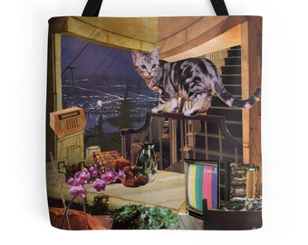 Tote Bag - Aquarius StarCat - zodiac astrological collage art - cat lover gift, January February birthday