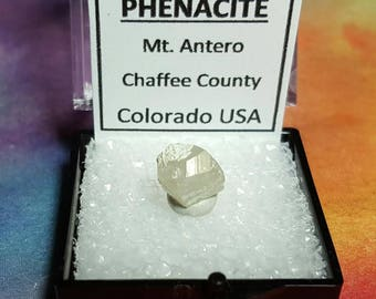 Sale PHENACITE Mt. Antero CO USA (Phenakite) Terminated Crystal In Perky Specimen Box From Chaffee County Colorado Beyond Rare