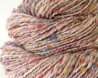 Handspun Yarn -  Hand Spun Silk / Merino Yarn - Sport Art Yarn- 1.76oz, 166yd, 17WPI
