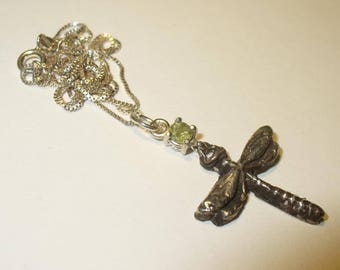 Demantoid Garnet Dragonfly Pendant Necklace in Sterling Silver - Genuine Natural Green Garnet