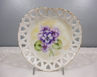 Hand Painted Violets on Heart Shaped Reticulated Dish - Sweet!  Bonbon Plate