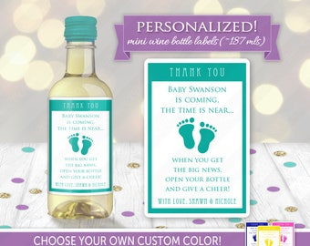 Baby Shower Party Favor Mini Wine Bottle Label | Custom Hostess Gift, Personalized Gender Neutral Sticker for Cute Thank You Present Idea