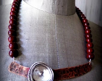 Mixed Metals Necklace with Deep Red Beads Copper Silver Handmade Mothers Day