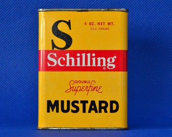 Vintage Schilling Mustard Advertizing Tin - 4 Ounce Double Superfine Spice Container