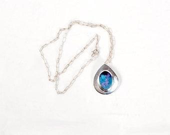 Vintage 70s Necklace - 70s Silver Necklace - Sterling Silver Necklace - Silver Modernist Necklace - Enamel - Purple Blue - Silver Enamel