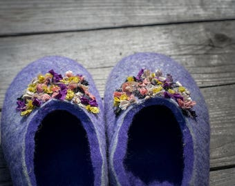 Felted Wool slipper women Felt natural wool house shoes Purple gray slippers Gift for her