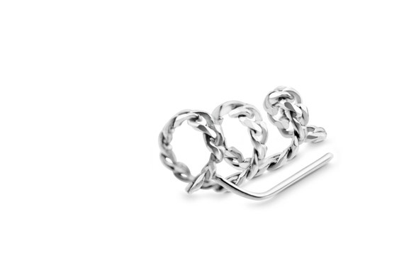 Spiral Ear Climber | Coil Ear Climber | Swirl Ear climber | Silver Chain Ear Climber | Silver Chain Earring |