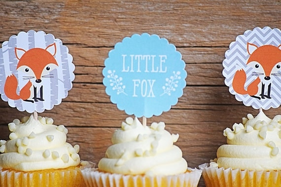 Woodland Cupcake Toppers Woodland Baby Shower Cupcake Toppers