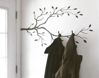 Farmhouse decor, Entryway Coat rack decal, Tree Branch Wall Decal -  DIY Coat Rack Decal, Branch Decal, Mudroom Wall Decal, wall decal tree