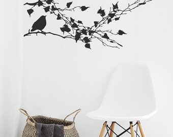 Branch Wall Decal, Modern Wall Decal, Farmhouse Decor, Farmhouse Kitchen decor , Bird decals, Wall Decal Tree Branch Living Room Wall Decal