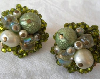 Vintage Green Glass & Plastic Beaded Costume Jewelry Clip Back Earrings