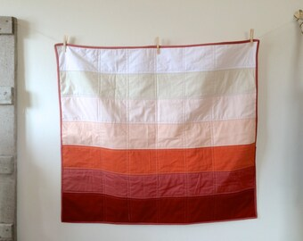 Baby Quilt | Modern Baby Quilt | Ombre Red Peach Pink Stripe Crib Quilt | Gradient Quilt