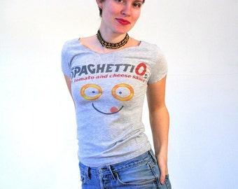 90s Spaghettios T-shirt, Heather Gray Scoop Neck T-shirt, Food T-shirt, Retro T-shirt, Chef Boyardee T-shirt, Stretchy T-shirt, S To M