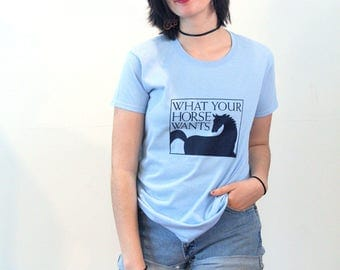 90s Horse T-Shirt, What Your Horse Wants, Vintage Horse Tee, Black Blue Cotton Horse Shirt, Equestrian T-Shirt, Animal T-Shirt, Horse Lover
