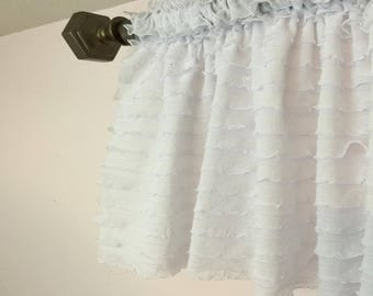 White Ruffle Valance   White Valance Curtain   White Curtain   White Sheer  Curtain   Extra