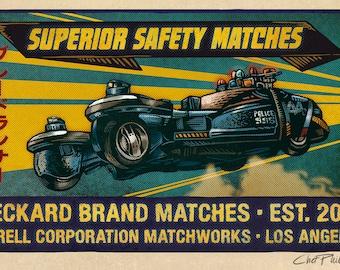 """Deckard Brand Matchbox Art- 5"""" x 7"""" matted signed print"""