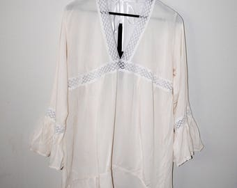 sheer white rayon and lace boho bell sleeve dress handmade eco fashion sheer summer dress os