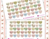Shabby Chic Hearts Days of the week Stickers~