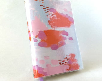 Paperback Book Cover - Reusable, Protective and Adjustable - Large Trade Size - Stylish Book Cover with Orange, Pink, Purple Brush Strokes