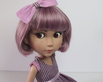 """OOAK outfit for Tonner Patience.  """"Stripy Purple Playsuit"""" set.  Dress, petticoat, bloomers & bow."""