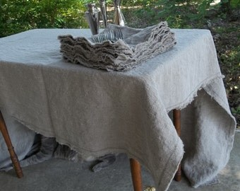 Natural Linen Tablecloth Custom Tablecloth Washed Linen Napkins   Handmade Well Wrinkled Tablecloth Wedding Decorations Table Decor