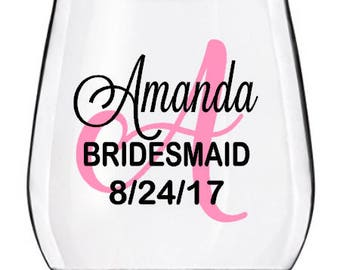 Wedding Wine Glasses, Bridesmaid Wine Glasses, Stemless Bridal Party Wine Glasses, PLASTIC CUPS